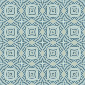 Seamless illustrated pattern made of abstract elements in  blue and dark gray