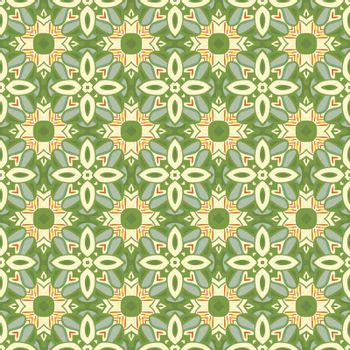 Seamless illustrated pattern made of abstract elements in beige, yellow, orange, green and blue
