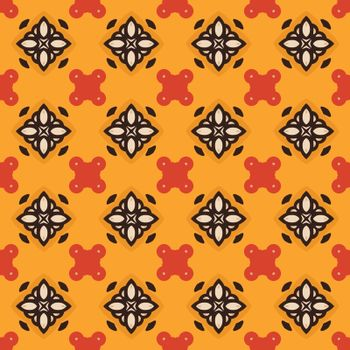 Seamless illustrated pattern made of abstract elements in beige, orange, red and black