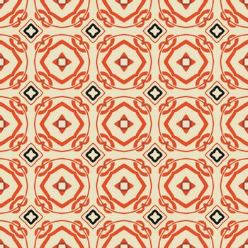 Seamless illustrated pattern made of abstract elements in beige, red and black