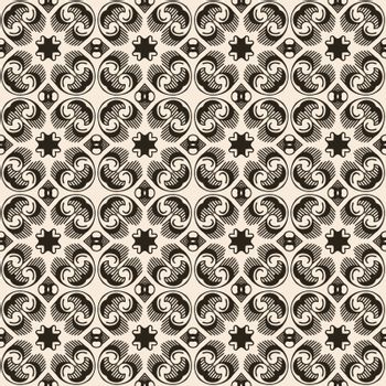 Seamless illustrated pattern made of abstract elements in beige and black