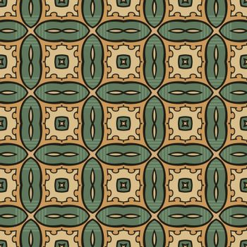 Seamless illustrated pattern made of abstract elements in beige,turquoise, orange and black
