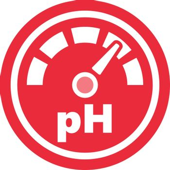 pH increase measurement red round vector icon