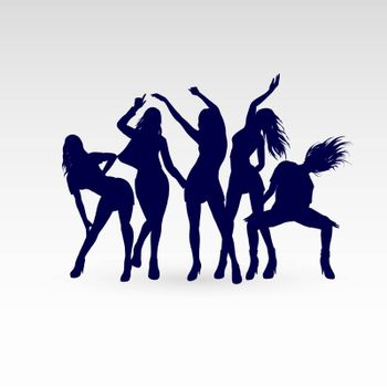 Silhouettes of Dancing Girls Set. Illustration Silhouettes on White