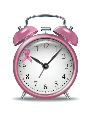 Pink alarm clock with pink ribbon on clock face. Concept of Breast cancer awareness and social support. Symbol of world month fight against breast cancer. EPS10 vector