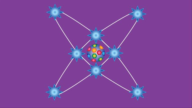 Abstract model of the atom on a purple background.