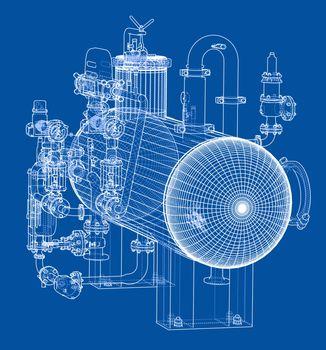 Sketch industrial equipment. EPS 10 vector format. Vector rendering of 3d