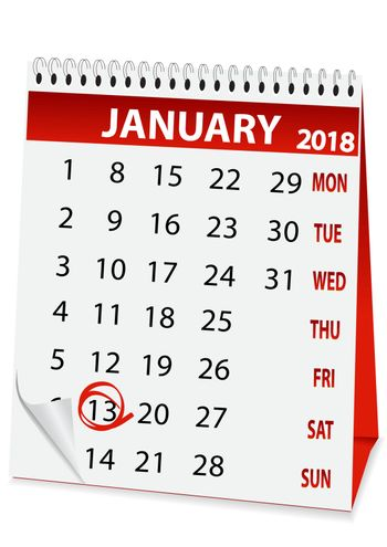 icon in the form of a calendar for old New Year 2018