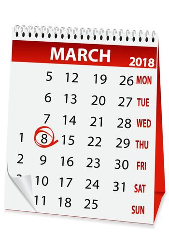 icon in the form of a calendar for 8 March 2018