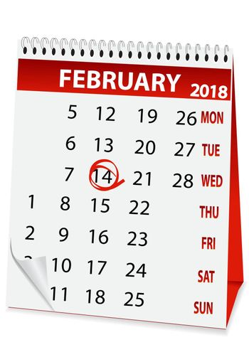 icon in the form of a calendar for Valentine's Day 2018