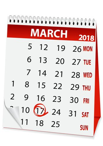 icon in the form of a calendar for  St Patrick's Day 2018