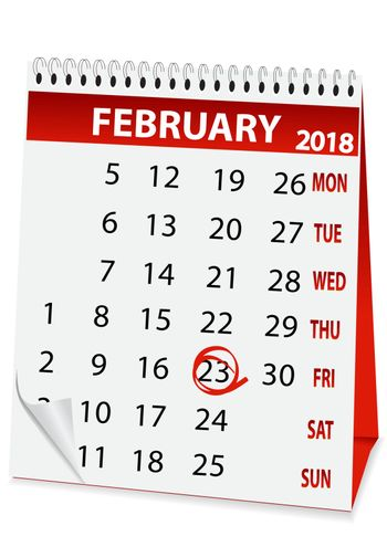 icon in the form of a calendar for 23 February 2018