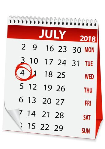 icon in the form of a calendar for Independence Day on July 4 2018