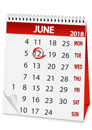 icon in the form of a calendar for June 12, Russia day 2018