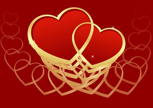 greeting card with hearts on a red background Valentine's Day