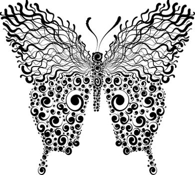Beautiful decorative black and white fishnet butterfly, vector illustration