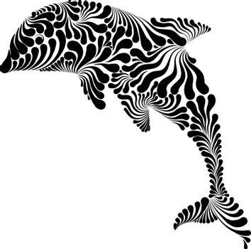 Dolphin in the jump decorative graphic vector illustration