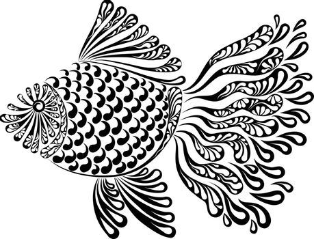 Decorative image of a fantastic fishnet fish vector illustration