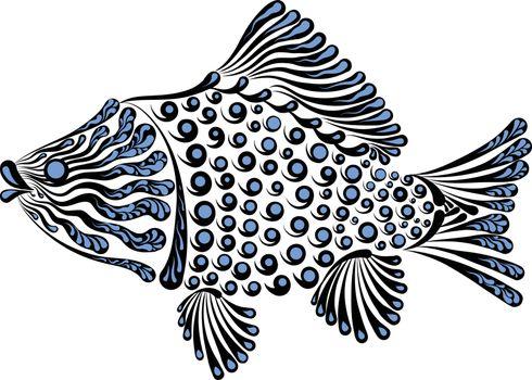 Vector illustration of a beautiful decorative fish crucian