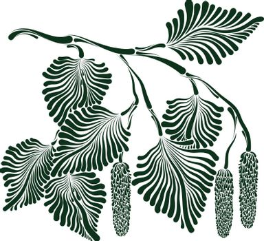 Decorative image of birch branch with buds