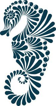 Sea horse decorative illustration, Graphic vector image