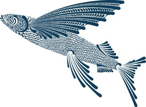 Beautiful decorative vector illustration of flying fish