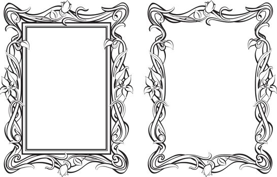 Decorative floral modern style frames. Hand drawn outline vector image