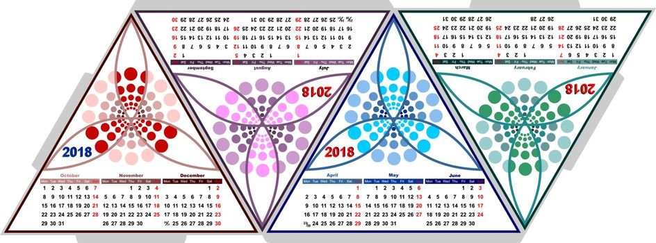 The model of the volumetric triangular calendar
