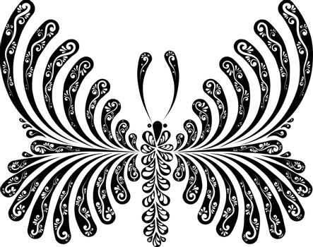 decorative openwork vector illustration of a beautiful butterfly