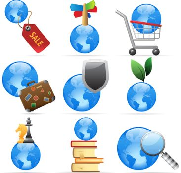 Icons for global concepts. Vector illustration.