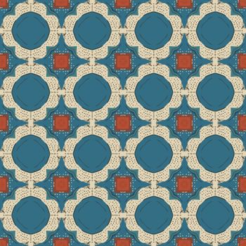 Seamless illustrated pattern made of abstract elements in beige, red, turquoise, brown and gray