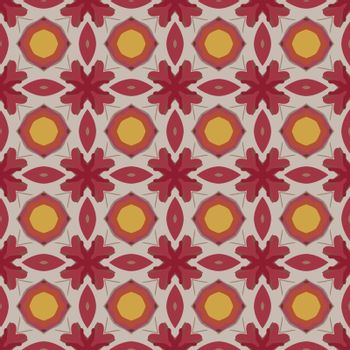 Seamless illustrated pattern made of abstract elements in beige, yellow pink, gray and red