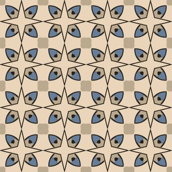 Seamless illustrated pattern made of abstract elements in beige, blue, gray and black