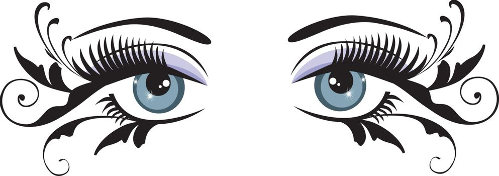 vector illustration of beautiful floral eyes with swirls and long lashes