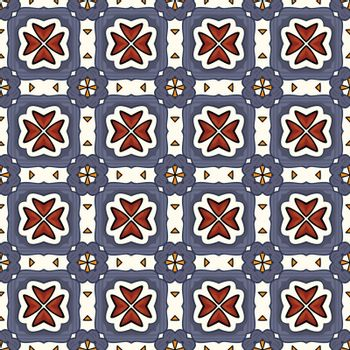 Seamless illustrated pattern made of abstract elements in white, blue, brown, orange and black
