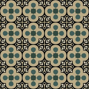 Seamless illustrated pattern made of abstract elements in beige, turquoise and black