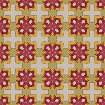 Seamless illustrated pattern made of abstract elements in beige, yellow pink, brown and red