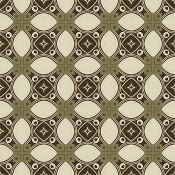 Seamless illustrated pattern made of abstract elements in beige and brown