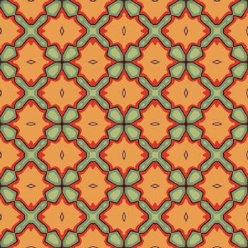 Seamless illustrated pattern made of abstract elements in red, orange, pink, green and black