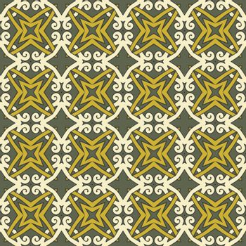 Seamless illustrated pattern made of abstract elements in shades of yellow and green