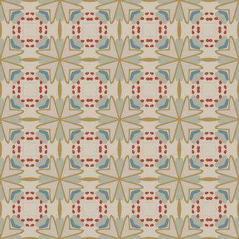 Seamless illustrated pattern made of abstract elements in beige, red, blue and light brown