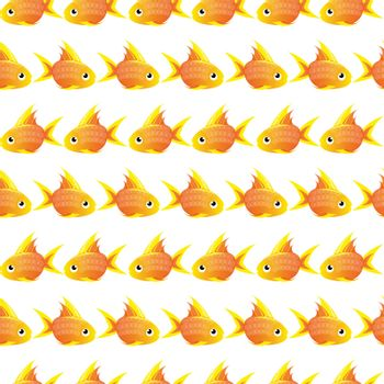 white Seamless pattern with large goldfish. vector