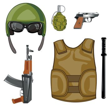Weapon and equipment modern military and means of protection waistcoat