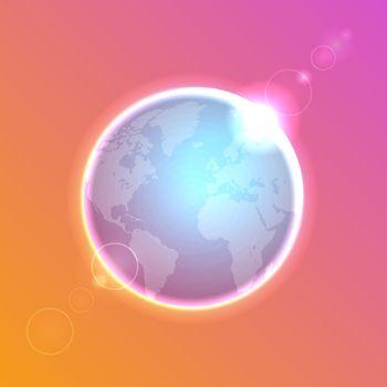 Planet Earth on colorful defocused lights bokeh background. Vector illustration.
