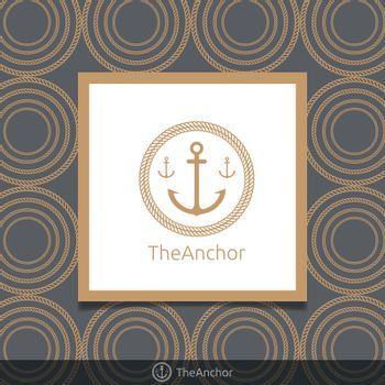 Three anchor emblem with circular rope in frame. Simple gold color logo template. circle rope pattern background. Vector illustration.