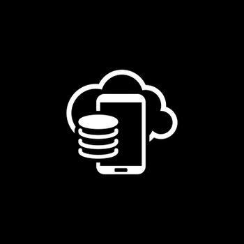 Cloud Storage Icon. Flat Design. Mobile Devices and Services Concept. Isolated Illustration.