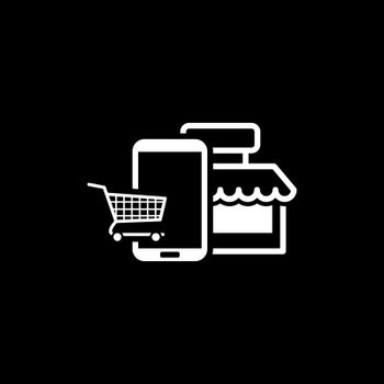 Online Shopping Icon. Flat Design. Mobile Devices and Services Concept. Isolated Illustration.