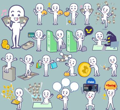 Set of various poses of Stick figure money
