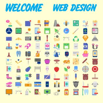 Icons online store. Base set in a flat style. multicolor on the color plate. Vector illustration