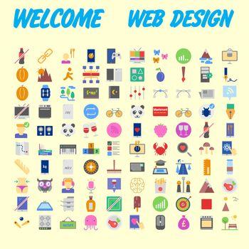 Orange background 100 universal Icon Set for web and mobile. Vector illustration